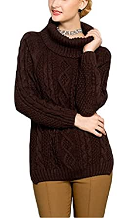 V28® Women's Cowl Neck Cable Knit Long Sleeve Knitwear Pullover Sweater (X-Small, Coffee)