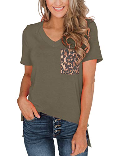 Minclouse Women's Summer Short Sleeves V Neck T Shirt Casual Basic Tops with Leopard Pocket