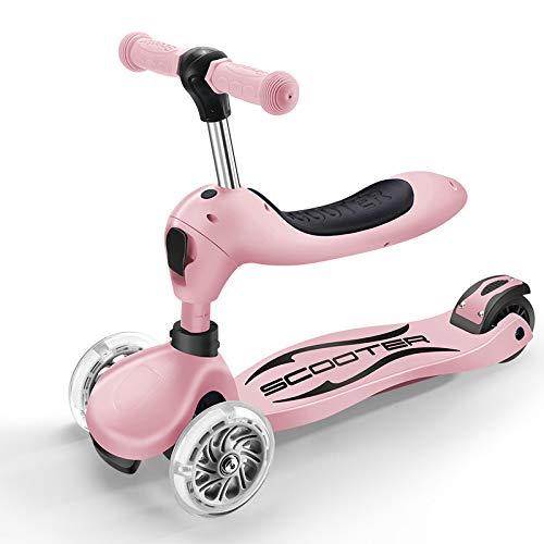キックスクーター 足踏み式ブレー 1の3 キ 折りたたみ式 ウィー Puフラッシュホイール 調節可能なシート ル ハンドブレーキ 持ち運び便利なベ 212歳に最適 B07NNK5GDM Pink Pink