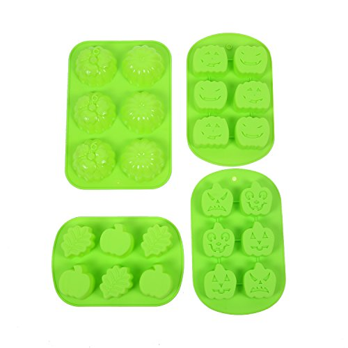 Halloween Jello Molds (IHOMECOOKER 4PC Silicone Halloween Pumpkin Faces Mold leaves Ghost Pumpkin Baking Mold Set Cake Pan Muffin Cups Fondant mold Soup Molds Chocolate Molds Jello molds)
