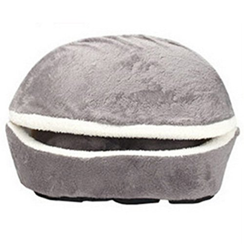 AhlsenL Cat Bed Cave, House Washable Hamburger Style Shell Nest Windproof Waterproof Removable Pet Cat Bed Thermal Hiding Puppy Sleeping Bag (Grey) Review