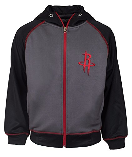 Majestic NBA Youth Polyester Primary Team Logo Fleece Track Jacket (Rockets, Large)