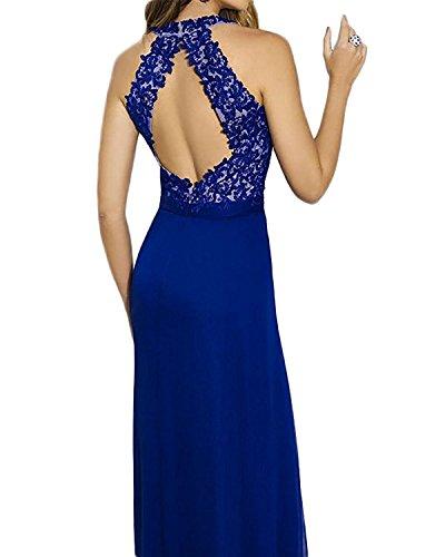 Abendkleider Braut Brautmutterkleider Elegant Spitze Blau Weinrot Partykleider Festlichkleider Neckholder Etuikleider Bodenlang mia La 05wqAx