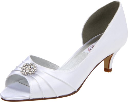 Dyeables Women's Kim Peep-Toe Pump,White Satin,11 B US ()