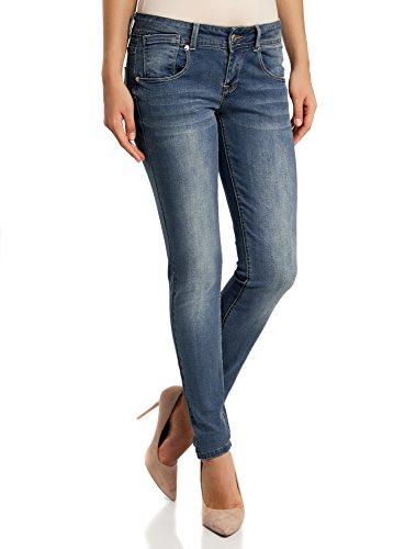 oodji Ultra Mujer Pantalones Vaqueros Skinny Azul (7500w)