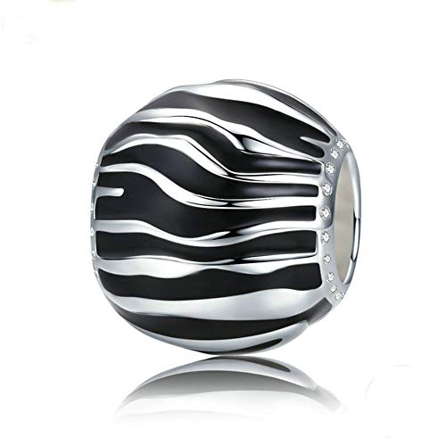 Zebra Pattern Bracelet Charm 925 Sterling Silver Black White Enamel Beads Fit DIY Bracelet