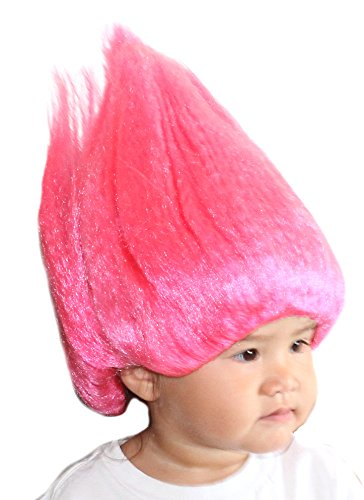 Hot Pink Girl's Troll Doll Wig One Size Fits All (Hot Dollar Costumes)