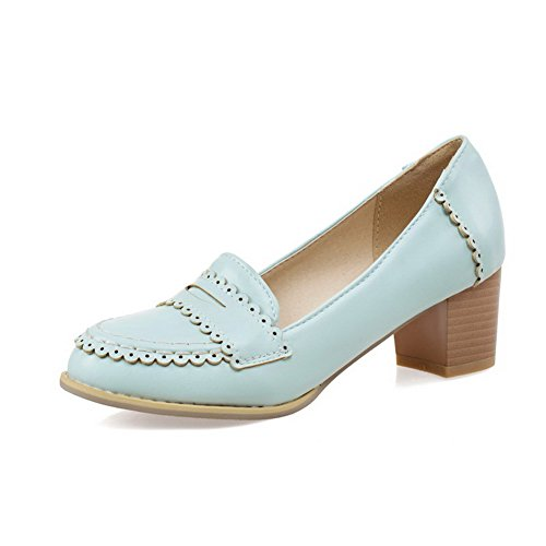 VogueZone009 Women's Pull On Round Closed Toe Kitten Heels Pu Solid Pumps-Shoes Blue GCkcSG