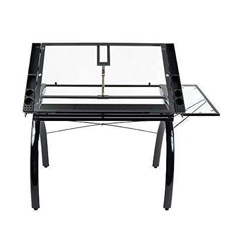 Studio Designs 10097 Futura Craft Station with Folding Shelf, Black with Clear Glass - Design 4 Shelf