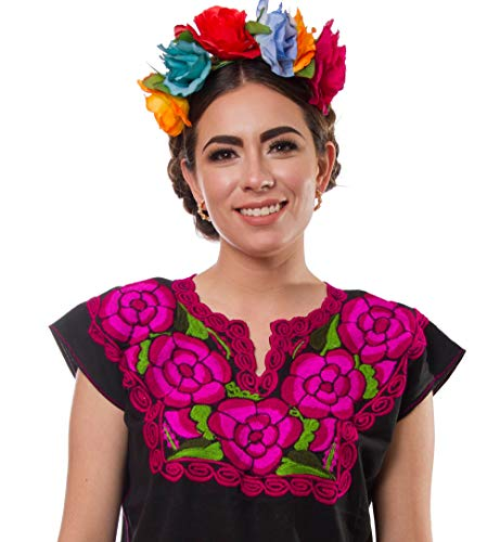 Mexican Blouse Embroidery Floral Artisans Handmade Top Peasant Cotton Boho Autentic Clothing Short Sleeve (Black Pink, XXL) (Embroidered Skirt Peasant)