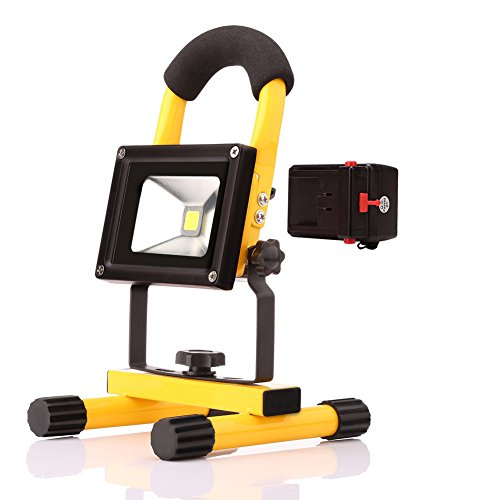 GBATERI 10W Portable LED Rechargeable Floodlight Outdoor PowerBank Flood Light with Detachable Battery Case Work Light with USB Output,5 Modes Option for Traveling Camping Fishing-Yellow by GBATERI