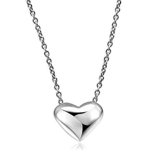 Double Fair Simple Tiny Silver Or Rose Gold Floating Heart Necklace for Her 16