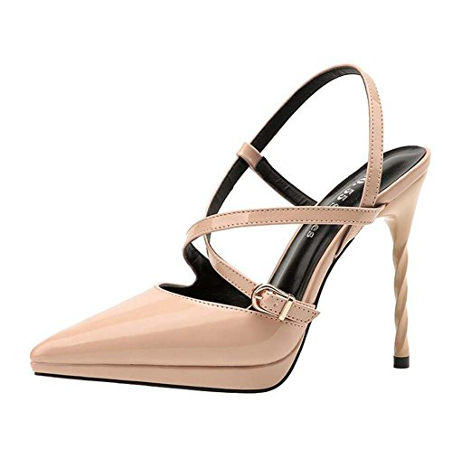 High Pointed Europa Donna Shallow Scarpe America e Nightclub Sandali Fini Belt da Cross Mouth rosa Heels xR8xfqX