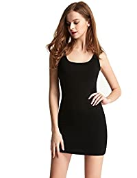 Women's Mini-Ribbed Stretch Scoop Neck Extra Long Tank Top