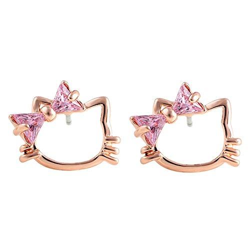 [Shuyani 18K White Gold plated Cute Pretty Hello Kitty Cat Tillion Cut Pink Cubic Zirconia Stud] (Hello Kitty Ears)