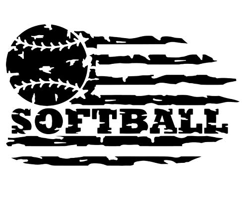 (Custom Distressed Flag Softball Vinyl Decal -Softball Sticker, for Bumpers, Coolers, Laptops, Car Windows - Softball Player Coach Gift)