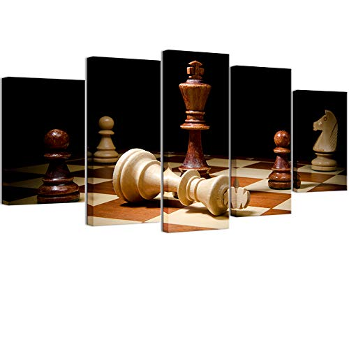 (Welmeco Large 5 Pieces Wall Decor Closeup of Checkmate One Wooden Chess King Dominating Another Picture Rustic Canvas Prints for Home Decoration Ready to Hang L-60 x H-32 (01 Retro Color) )