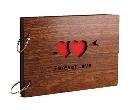 Ruotong DIY Photo Album Wood Cover Anniversary Scrapbook 8 X 6 inches Self-adhesive Picture Book with Black Pages for Wedding Guest Book Couples Graduation Travel Love Story Memory (Forever Love)