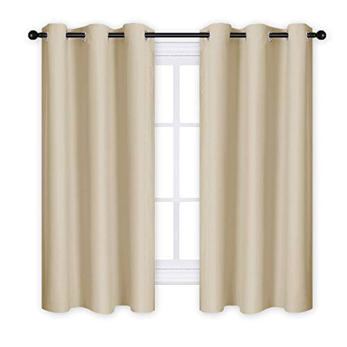 RYB HOME Blackout Window Curtain Panels, Soft Thermal Insulated Energy Saving Drapes Privacy Protect for Dining Room/Living Room (42 x 63 in, Cream Beige, Set of 2)