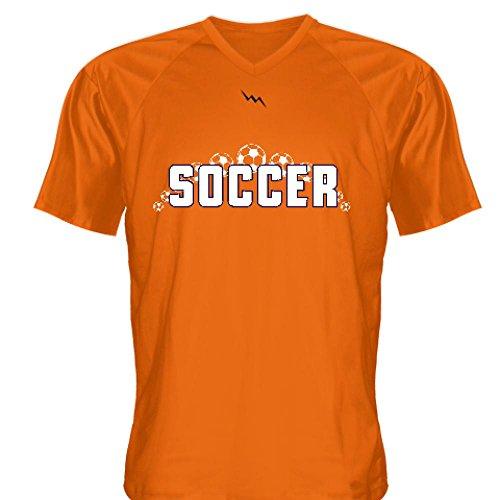 LightningWear Youth Orange Soccer Jerseys V Neck Youth X-Large, Orange ()