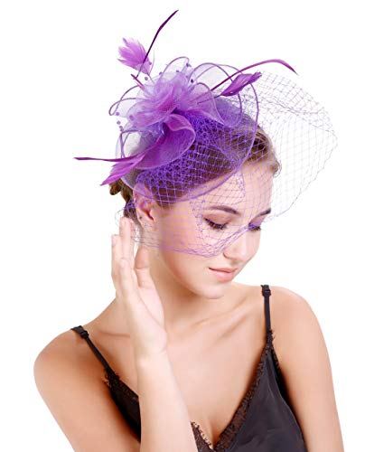 Fascinators Hats 20s 50s Hat Pillbox Hat Cocktail Tea Party Headwear with Veil for Girls and Women(D-purple)]()