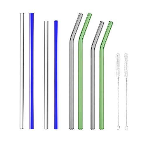 Herxuhouse Reusable Colored Glass Straws - 10