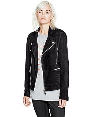 GUESS Women's Suede Biker Jacket