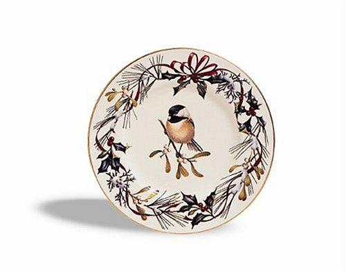 Lenox Winter Greetings Gold Banded Ivory China Chickadee 9-Inch Accent Plate
