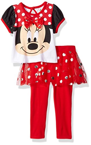 Disney Girls' 2 Piece Minnie Mouse Glitter Skegging Set, Red, 18m (Clothing Minnie Mouse)