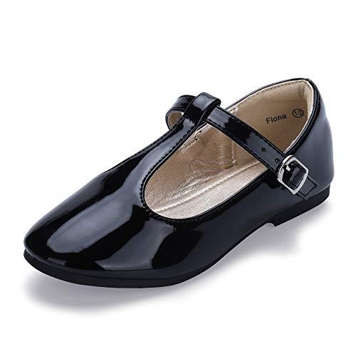 Hehainom Toddler/Little Kid Girl's Fiona Ballet Flats T-Strap Mary Jane Dress Shoes School Uniforms (Black Patent, 6 M US Toddler) ()