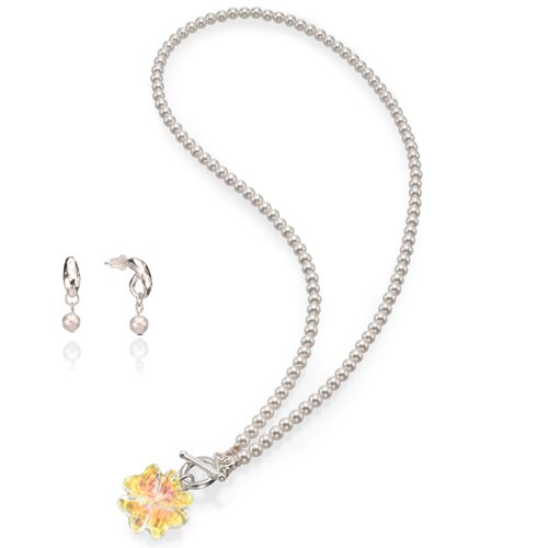 SEA Smadar Elegantly Designed And Handmade White Pearl And Swarovski Crystal Necklace With 925 Silver Rhodium Plated Matching Earrings