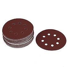 uxcell® 5inch Dia 600 Grit 8 Holes Sanding Paper Disc Sandpaper 50pcs