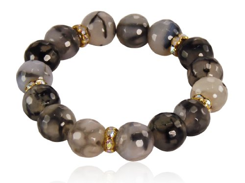 Grey Agate & Semi Precious Stones Stretch Bracelet