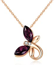 CDE Birthstone Butterfly Pendant Necklace Silver Tone/Gold Tone Necklace for Women 925 Sterling Silver Necklac