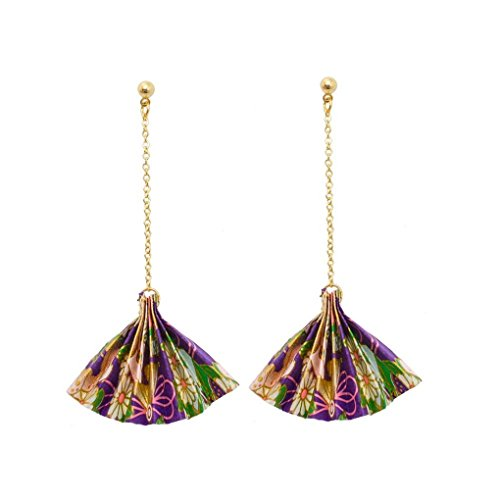 fonk: Personalized Design Gold Plated Ball With Dangling Chain Ethnic Paper Fan Shape Drop Earrings Lady Girls