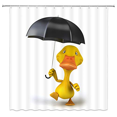 Cartoon Yellow Duck Shower Curtain Decor Yellow Duck Holding a Black Umbrella 70 x 70 Inches Waterproof Mildew Resistant Polyester Fabric Machine Washable with 12pcs Hooks