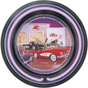 Mobil Gas Station Neon Wall Clock ()