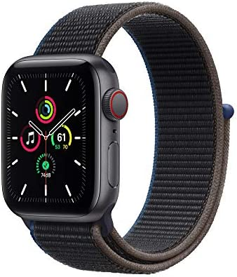 New Apple Watch SE (GPS + Cellular, 40mm) - Space Gray Aluminum Case with Charcoal Sport Loop