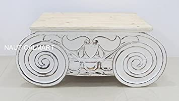 Superb DISTRESSED IONIC CAPITAL COFFEE TABLE