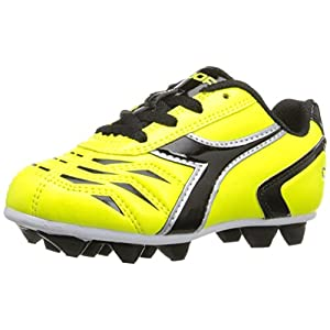 Diadora Soccer Kid's Capitano MD Jr Shoe, Flou Yellow/Black, 11 Medium US Little Kid