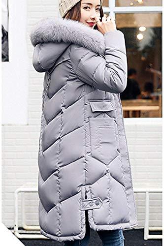 Grande Outdoor Elegantes Talla Capucha Caliente Día Con Acolchado Casuales Lightgrey Invierno Piel Largo Larga Fashion Manga Retro Abrigo De Parka Mujer Plumas Pluma tSOPwxp4q
