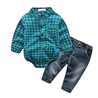YUN HAO Baby Boys 2 Piece Jeans Shirt Winter Clothes Sets with Bowtiey - Green - 12-18month(80#)