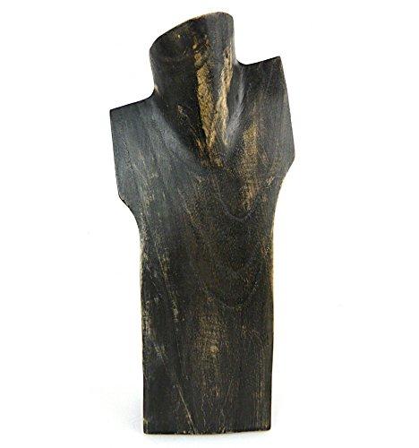 Artisanal 'busto espositore per collane h30cm in legno finitura Nero Vintage