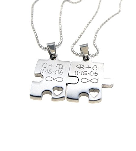 Engraved Puzzle Couples Gift Set - Necklace Gift Set - Stainless Steel - Custom Jewelry