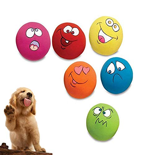 Igreli Pet Toys for Cat Dog Teeth Squeaker Ball Puppy Sound Squeaker Squeaky Ball with Face Fetch Toy 6 ()