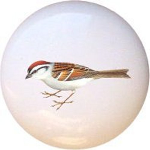Chipping Sparrow Bird Decorative Glossy Ceramic Drawer Pull -