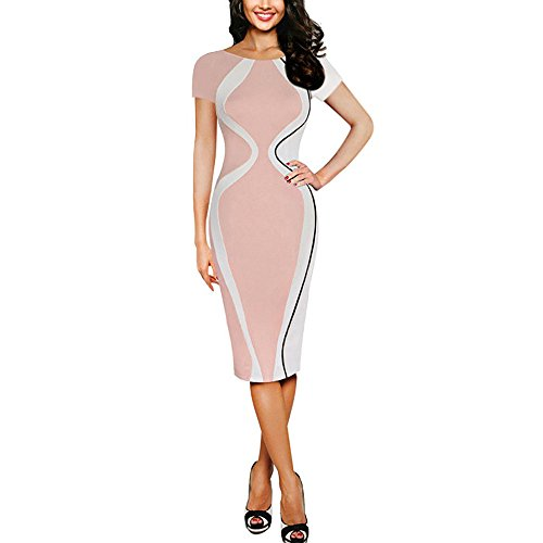 Women Colorblock Optical Illusion Short Sleeve Cocktail Work Pencil Dress Pink