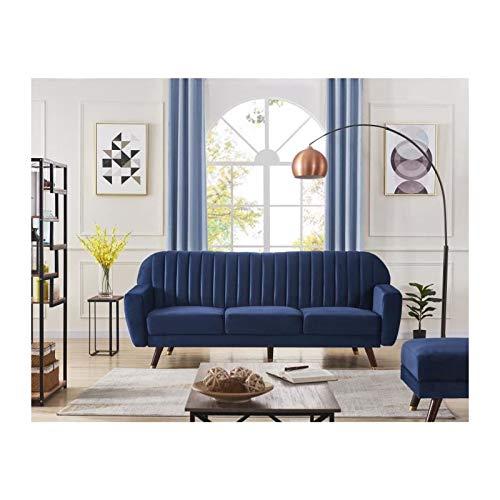Velours Romantique Droit Bleu Canapé Ernest Convertible 3 Places eCrdBQxoW