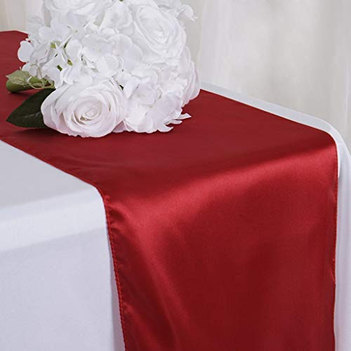 Tiger Chef 12-Pack Wine 12 x 108 inches Long Satin Table Runner for Wedding, Table Runners fit Rectange and Round Table Decorations for Christmas Party Supplies