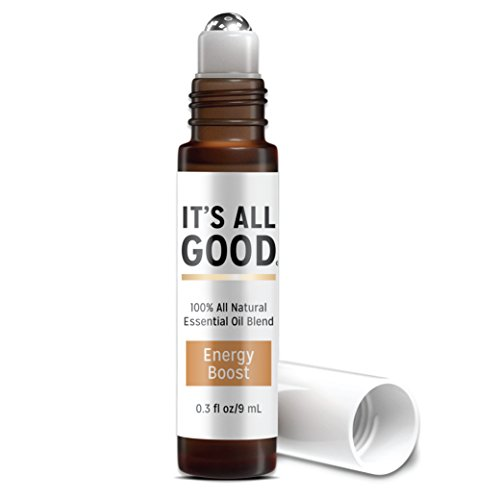 It's All Good Energy Boost Essential Oil | Pure Natural Therapeutic Grade Aromatherapy for Energy, Relaxation - 100% Natural, Vegan. Toxin & Cruelty Free in Our Signature Coconut Oil Blend | 0.3 Fl Oz